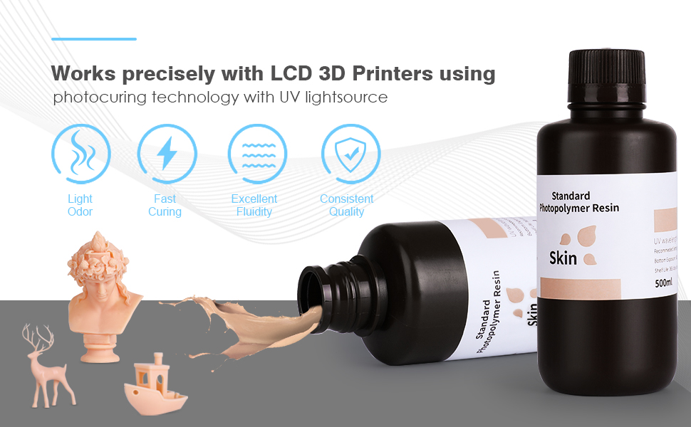 ELEGOO Water Washable 3D Printer Rapid Resin LCD UV-Curing Resin 405nm Standard Photopolymer Resin for LCD 3D Printing 500Gram Yellow
