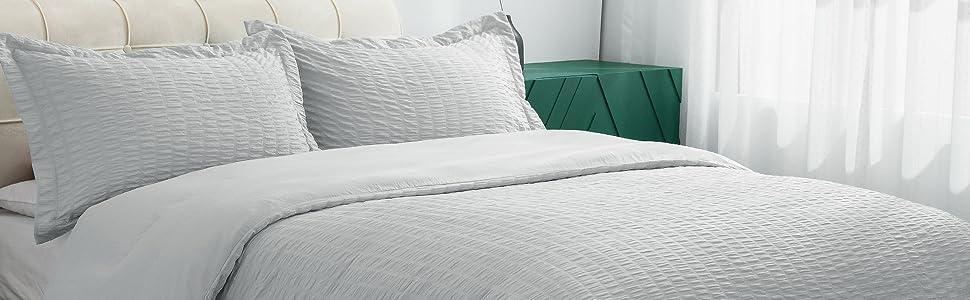 Bedsure Duvet Cover Set - Seersucker Stripe