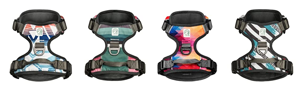 dog harness, patterned dog harness, padded dog harness, comfortable dog harness with leash set