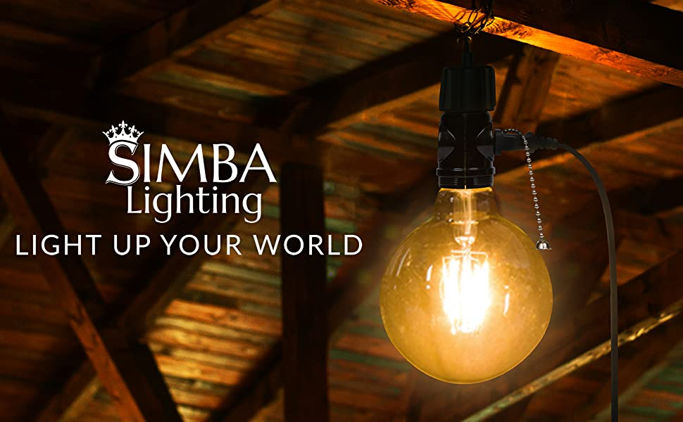 Simba Lighting logo light up your world pendant light socket adapter with pull chain 2 ac outlets