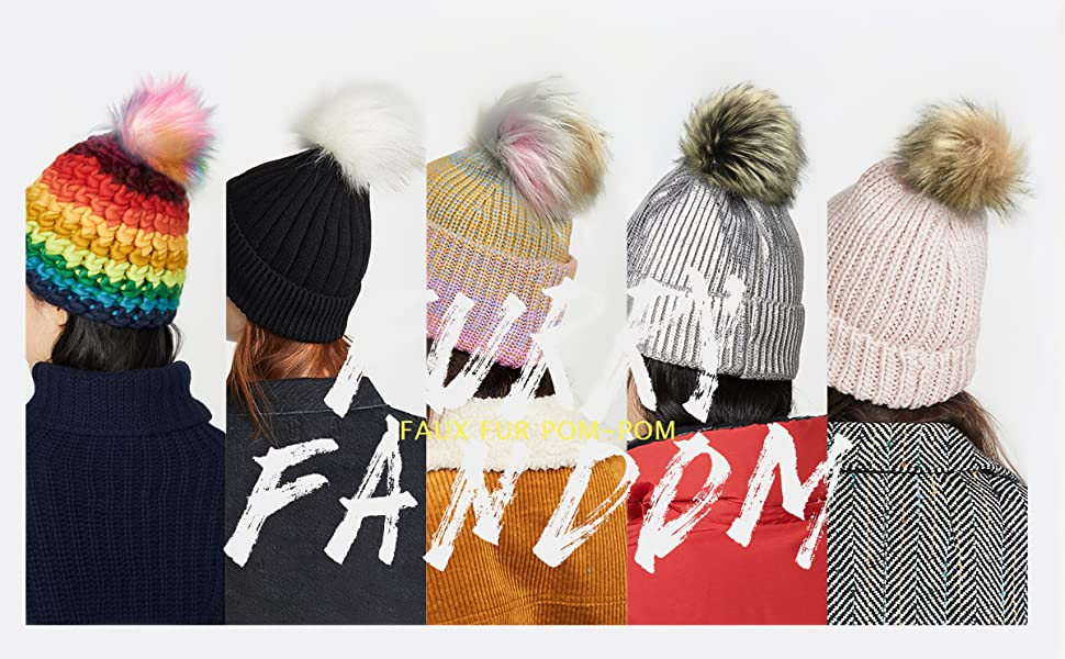 3 Popular Mix Colors Furryvalley Faux Fur Pompom 6pcs DIY Crafts Fluffy Balls for Hat Shoes Scarves with Snap Fastener Removable Knitting Hat Accessories 6 Inch Extra Large