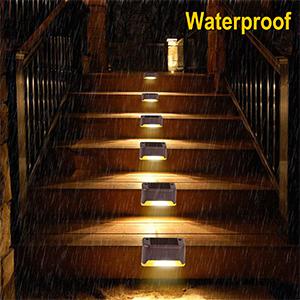 Solar Deck Lights,3 LED Solar Stair Lights,Outdoor LED Step Lighting Stainless Steel Waterproof