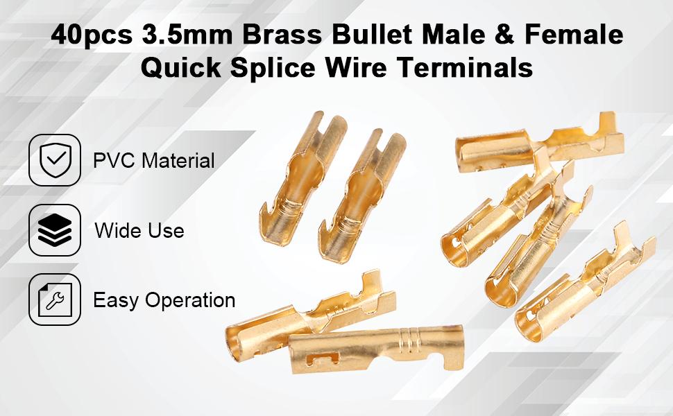 Brass Bullet 3.5mm Brass Bullet Male amp; Female Quick Splice Wire Terminals Bullet Butt Connectors