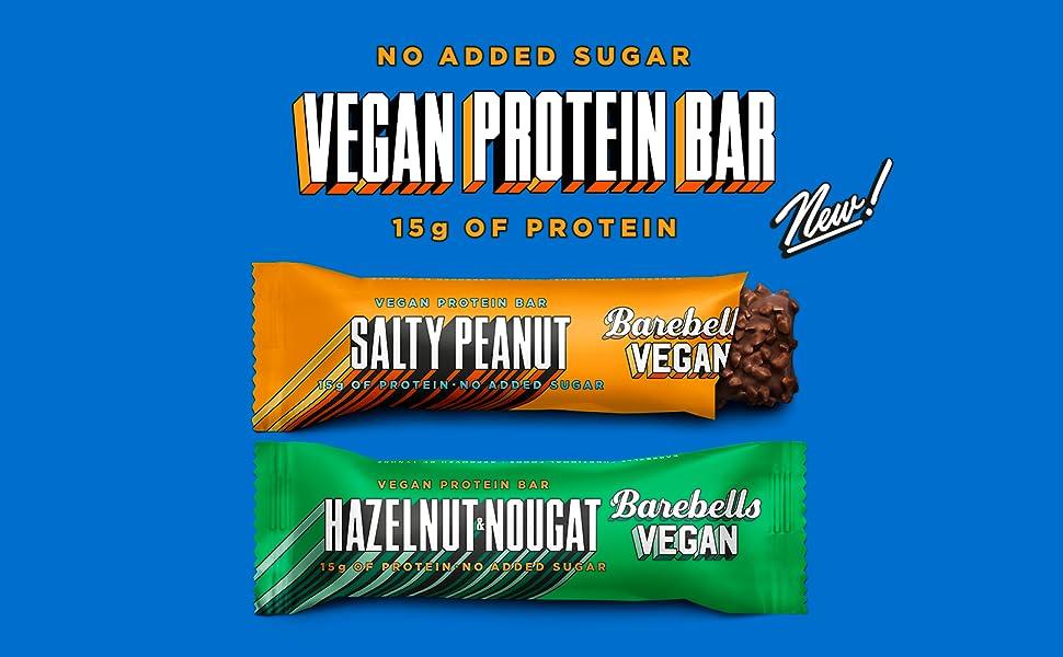 Barebells Barra de alto contenido en proteínas y bajo en carbohidratos, 12 x 55 g barra de aperitivos con bajo azúcar (vegano - cacahuete salado)