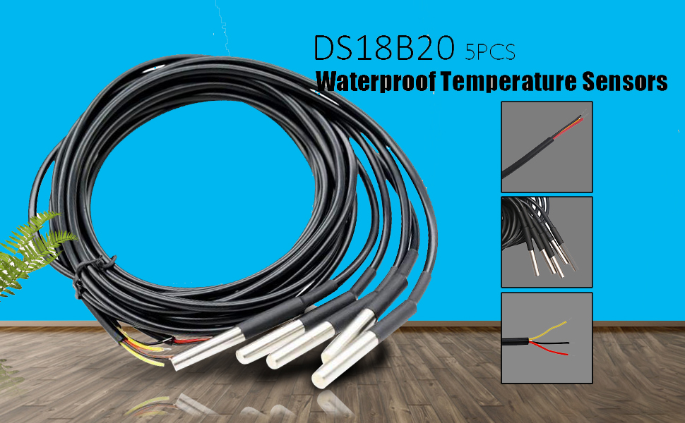 5PCS DS18B20 Waterproof Temperature Sensors Thermistor Temperature Control hv2n