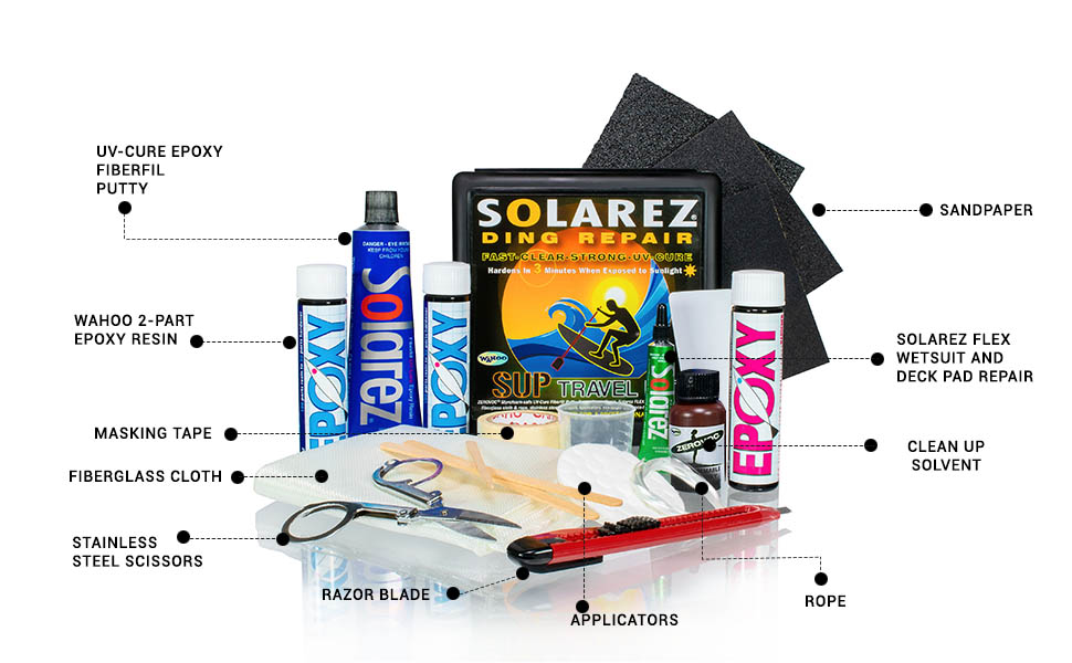 solarez, epoxy ding, UV Cure, wahoo 2 part, surfing, ding repair