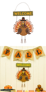 """17.91""""H Iron/Wooden Turkey Welcome Wall Decor"""