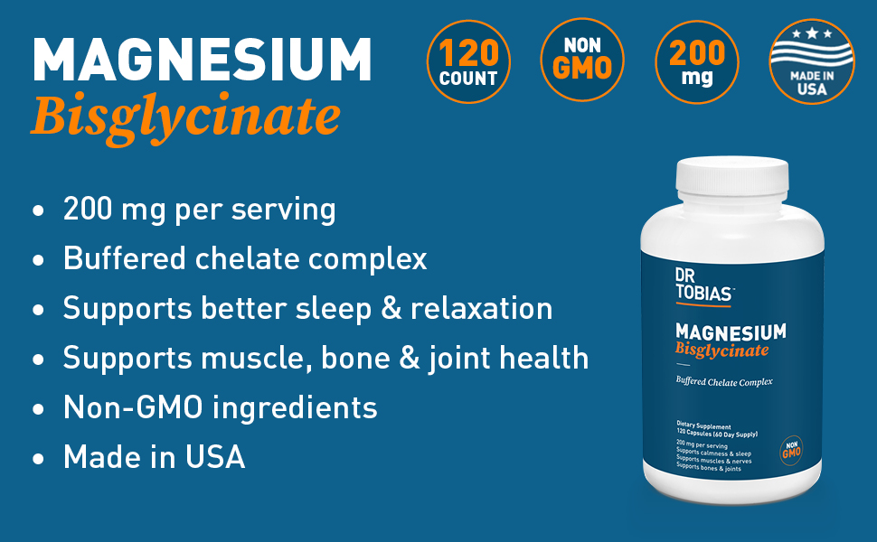 dr. tobias, vitamins, supplements, magnesium, glycinate, bisglycinate, buffered, chelate, complex