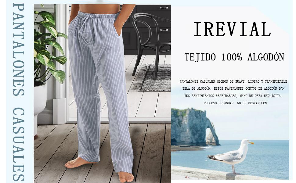 Irevial 2 Piezas Pantalones Largos de Pijamas para Hombre, 100% Algodón Cómodo Raya Pantalón por casa con cordón y Bolsillos,Suelto Pantalones de ...