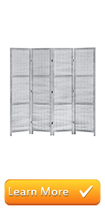 4-Panel Freestanding Contemporary Gray Woven Bamboo Room Divider