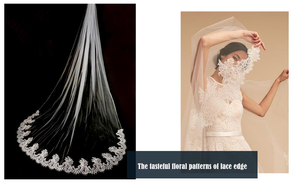 Passat 1T French Lace With Swarovski Rhinestone Wedding Veils With Crystal H16 H16-MFN
