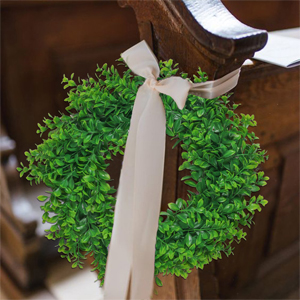 green wreath for church home decoration