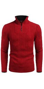 Men's Casual Slim Fit Quarter Zip Sweater