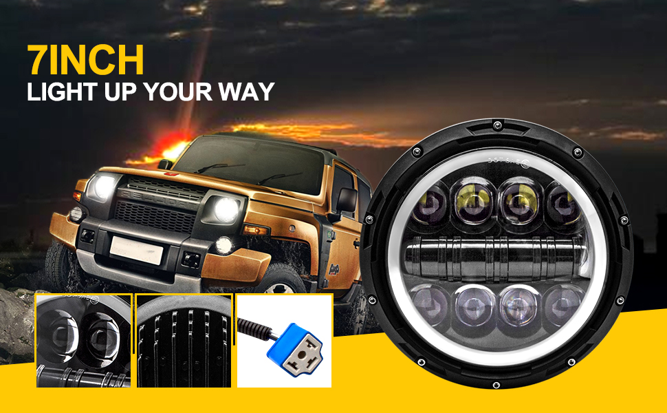 J-eep Wrangler LED Headlight Safego 7 Round 500W 40000Lm High Low Beam with White DRL Halo Ring Angel Eyes+Amber Turn Signal Light for J-eep Wrangler JK TJ LJ with H4 H13 Adapter,2Pcs-1Years Warranty