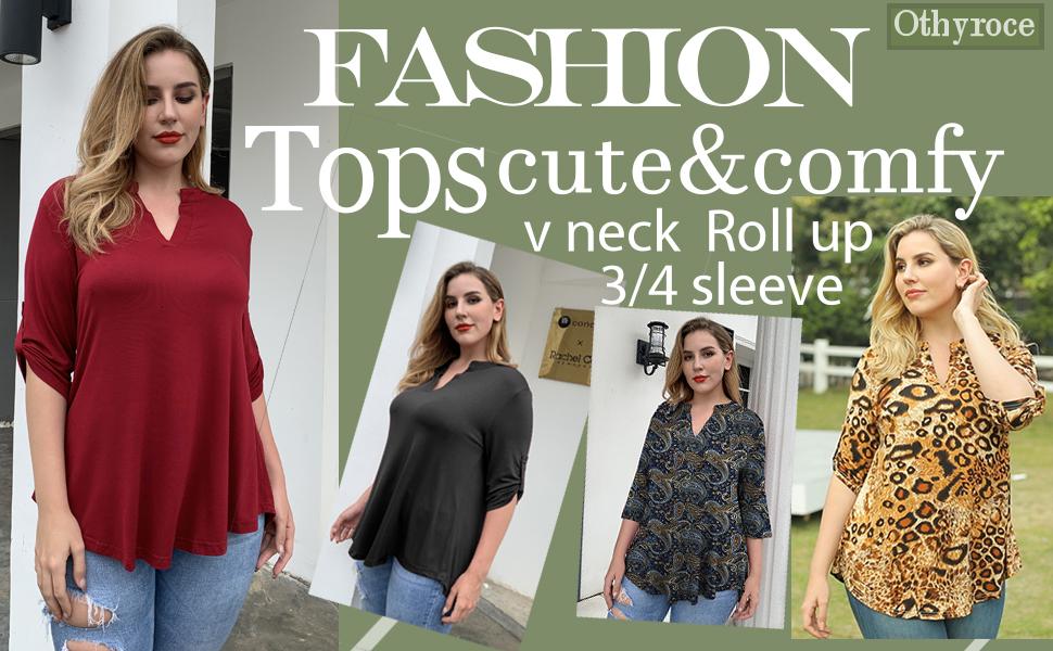 3/4 sleeve tops for women