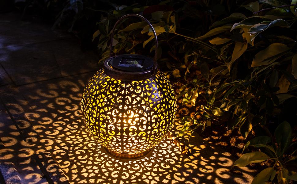 Linterna Solar Exterior Lámpara de Jardín, Btfarm Farol Solar Exterior Jardin Impermeable IP65 Solar Lantern LED Luz Colgante Lámpara, Decoración Luces Decorativas para Jardin Terraza Patio Navidad: Amazon.es: Iluminación