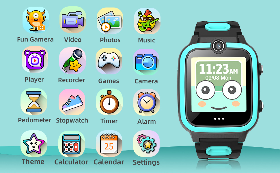 Smart Watch for Kids Boys Girls Age 3-12 with Video Recorder & Player