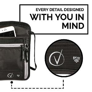 neck wallet travel pouch rfid passport holder passport holder neck travel wallet NFC blocking