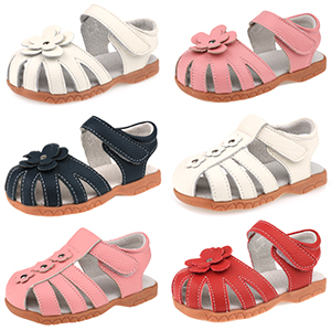 Femizee Toddler Girls Leather Sandals Princess Flower Dress Sandals