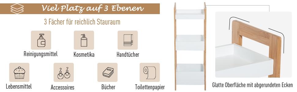 Bambusregal Badezimmer HBT 80x45x31,5 cm Handt/ücher /& Utensilien Relaxdays Badregal Ablagen f/ür Kosmetik wei/ß//natur