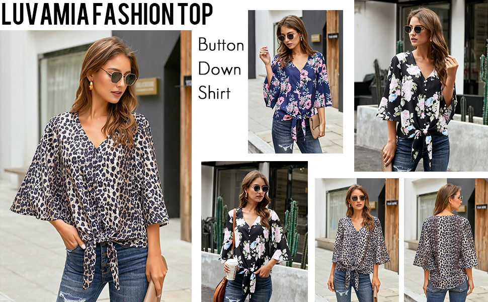 women bell sleeve top casual blouse fashion cute loose tops 3/4 sleeve summer top button down shirts