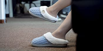 Women's Cute Comfy Fuzzy Knitted Memory Foam Slip On House Slippers Indoor