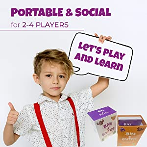 The card game is portable and social. Children have fun playing and learning at the same time