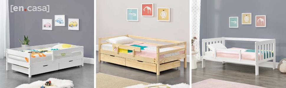 lit d'enfant stylé design grille sécurité anti-chute protection tiroirs espace rangement matelas pin