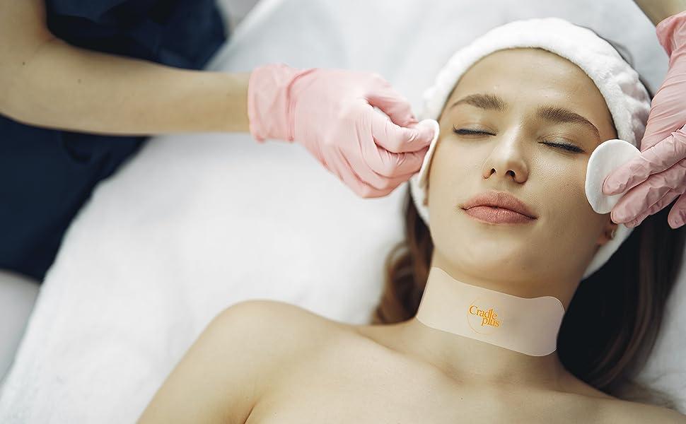 silicon mask neck tape lift