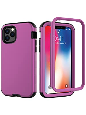 """iPhone 11 Pro 5.8"""" Inch Heavy Duty 3 Layer Shockproof Drop Proof Case Cover Burgundy"""