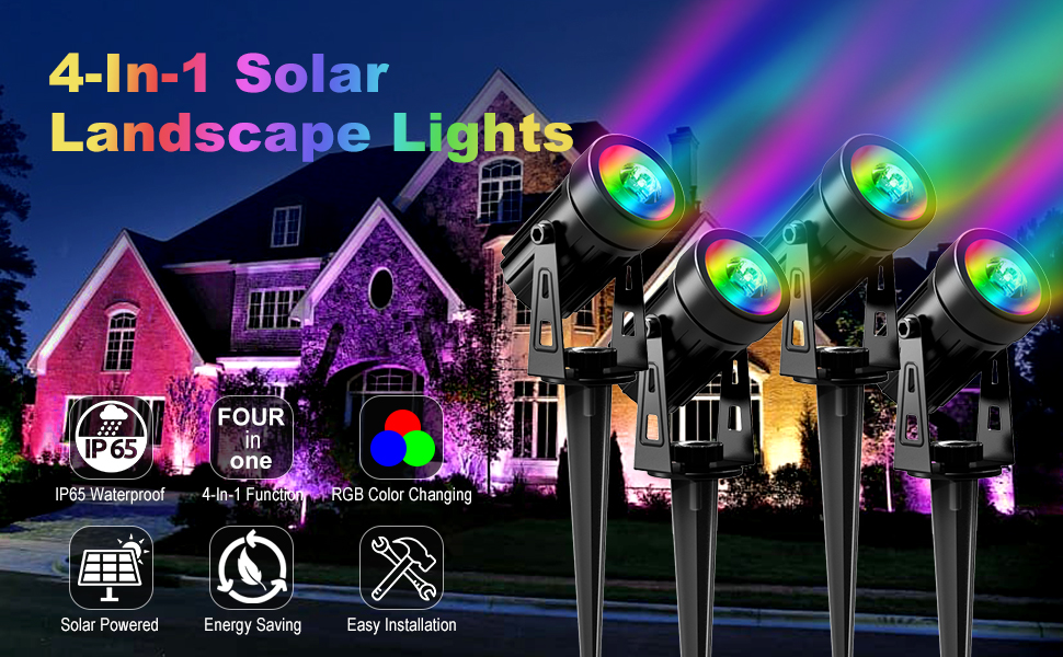 rgb solar spotlight