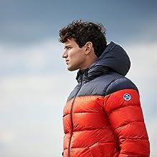 north sails orange and blue jacket