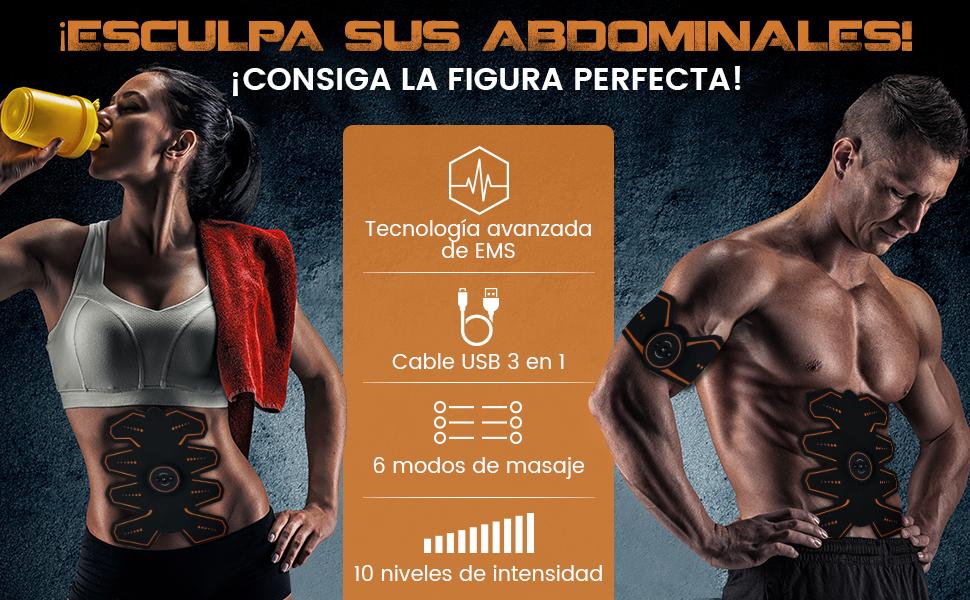 WeightWorld Electroestimulador Muscular Abdominales - Estimulador Eléctrico USB Recargable, para Abdomen, Brazos, Piernas y Cintura, Masajeador y ...