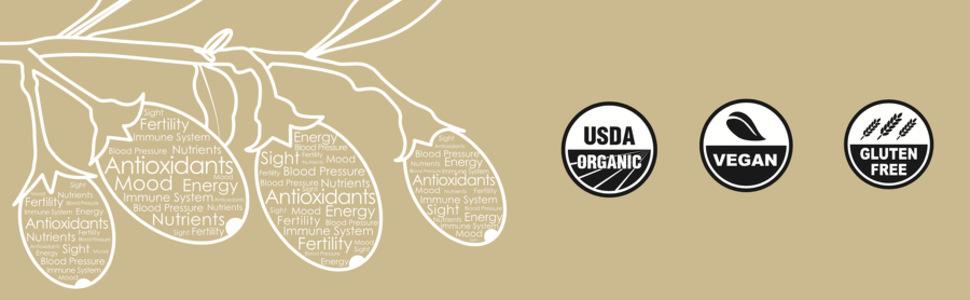 USDA Organic, Vegan, Gluten free, healthy goji berries