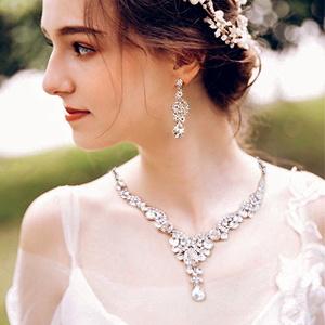 art deco statement choker necklace set
