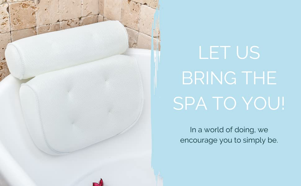 At Home Spa Pillow for Bathtub. Relaxation Gifts for Women and Bath Lovers.