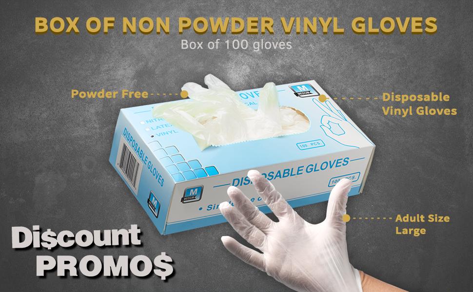 Non Powder, Non Latex, Disposable Vinyl Gloves