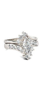 Jeulia 3 PC Wedding Ring Set Radiant Cut Engagement rings  silver rings with side stones