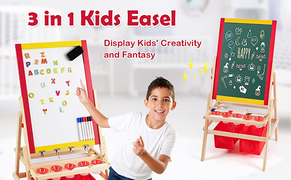 artist easel - Costzon 3 In 1 Kids Art Easel With Paper Roll, Double Sided Adjustable Chalkboard & White Dry Erase With 4 Drawing Board Clips, Storage Bins, 26 English Alphabet Tiles For Toddlers (Red)