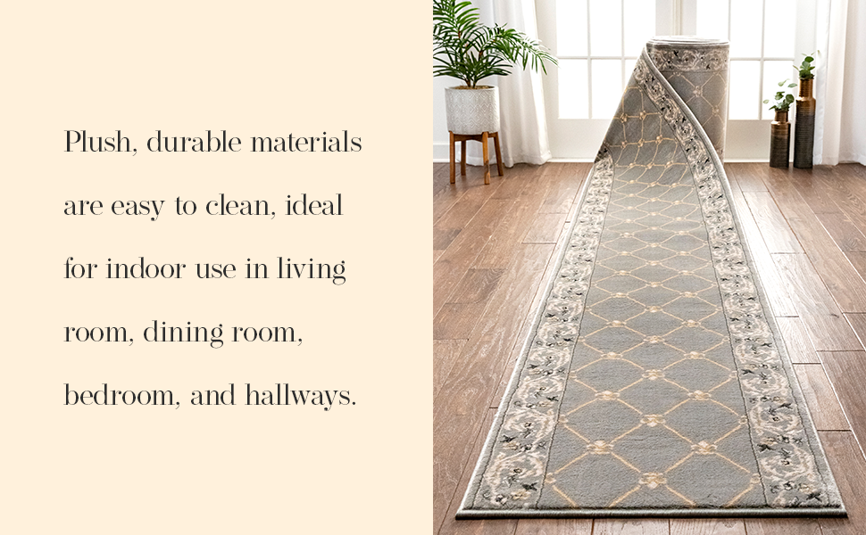 Well Woven area rug low pile traditional European lattice fleur de lis red black ivory grey gold