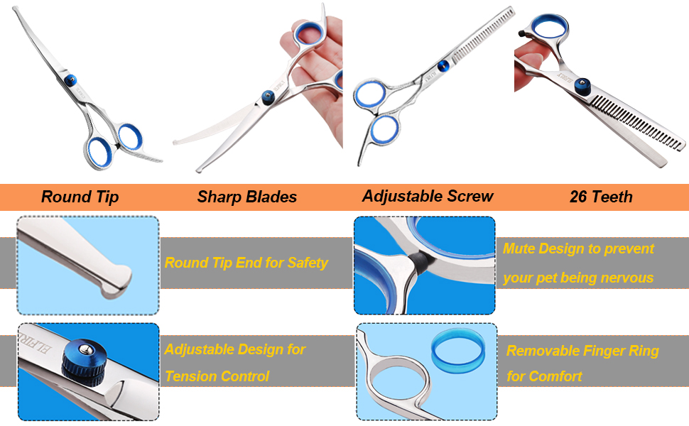 Grooming scissors round tip for dogs