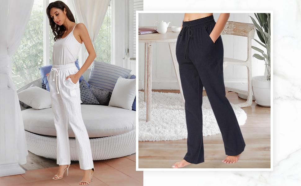 Pantaloni Donna Eleganti Dritta a Vita Alta