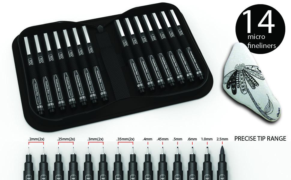 micro liner fineliner pens in black with zipper organizer case in ultra fine tip range