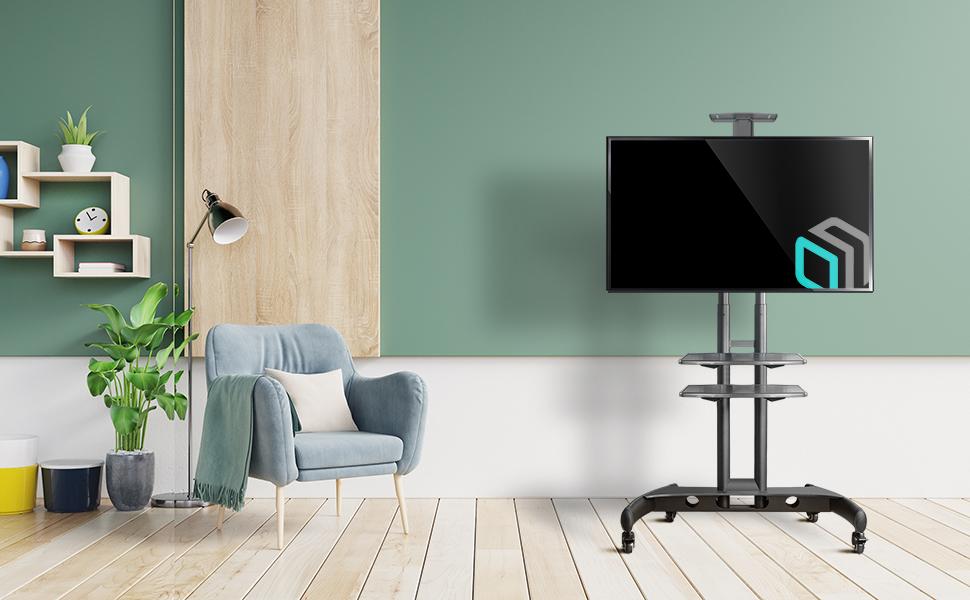 """ONKRON TV Mobil Ständer für 32""""-65"""" Zoll LED LCD OLED QLED 4K 8K Bildschirme Höhenverstellbar Rollbar Fernsehtisch TV-Standfuss mit AV-Ablagen VESA 100x100 bis 600х400 mm TS1562 Schwarz"""