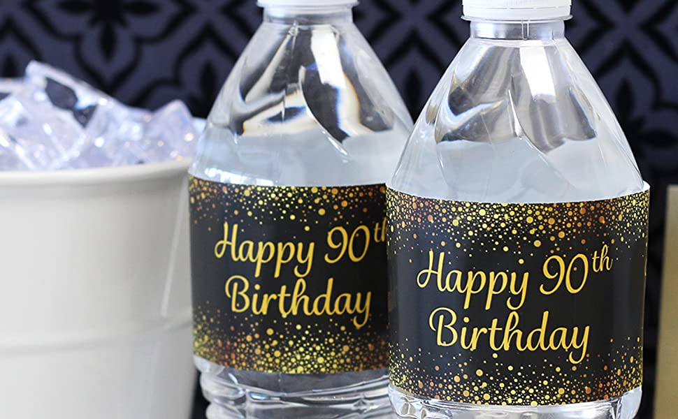 Happy 90th Birthday Water Bottle Labels Birthday Adult Birthday Label Gold and Black Instant download SOLD AS IS 90th Birthday Decoration