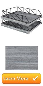 vintage grey gray wood tiered stacking file folder document trays desktop paper organizer holder