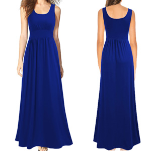 Sleeveless Scoop Neck Loose Plain Long Maxi Casual Dress
