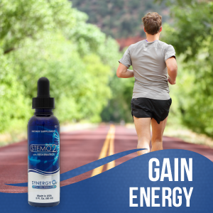 Man runs on a trail. Graphic of the StemO2 bottle in the corner. Text reads: Gain Energy.