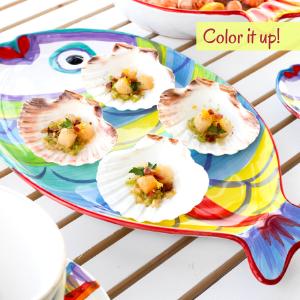 vietri pesci colorati plate dinnerware dining cutlery italy fish rainbow colorful coastal sea summer