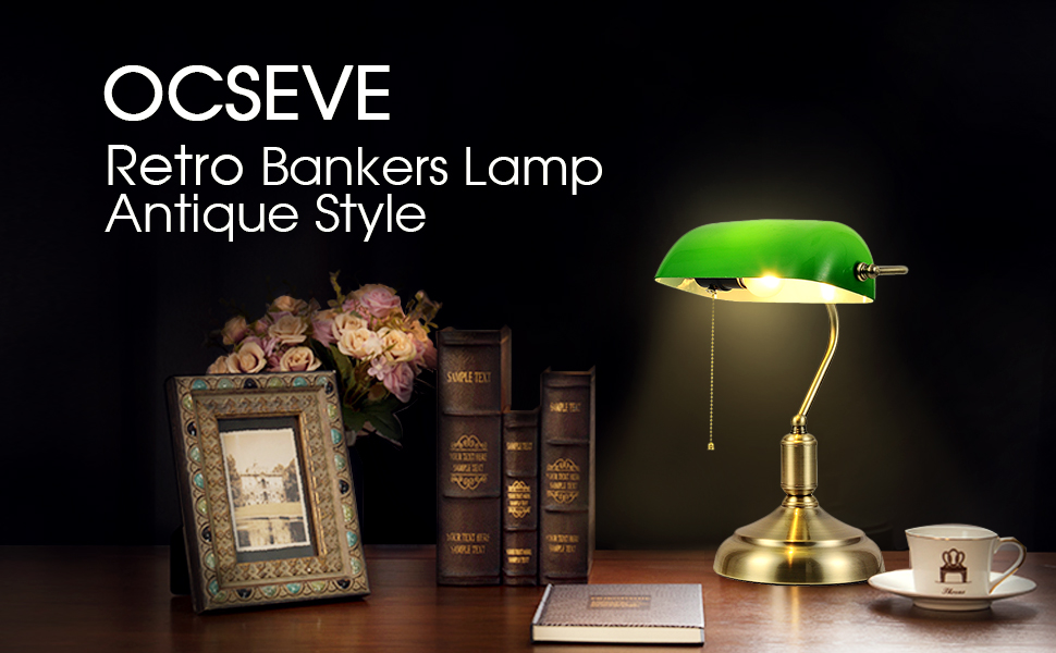 OCSEVE Retro Base Glass for Brass Light Emerald Bedside Shade LampAntique Bankers Desk Green with Retro Table Style ymn0wvNO8